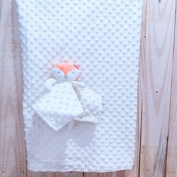 Manta para Bebê Fleece Dupla Face com Naninha Raposa