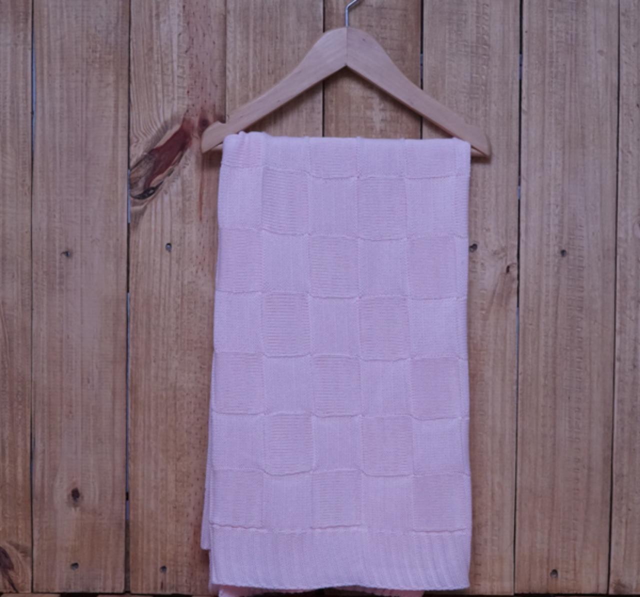 Manta para Bebê Quadrada em Tricot Rosa