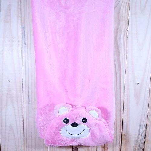 Manta para Bebê  Rosa com Capuz Plush ursinho