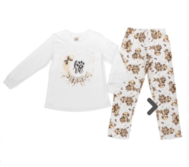 Pijama Infantil  Feminino De Cachorro