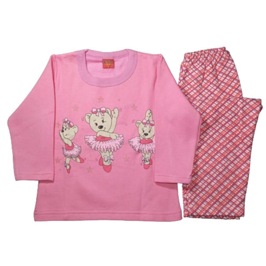 Pijama Infantil Flanelado Estampado Ursa Bailarina