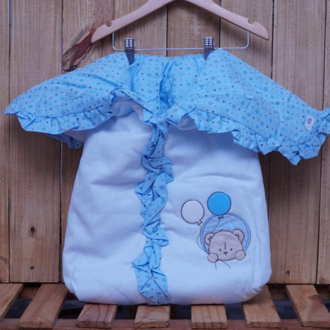 Porta Bebê Estampado Urso Azul