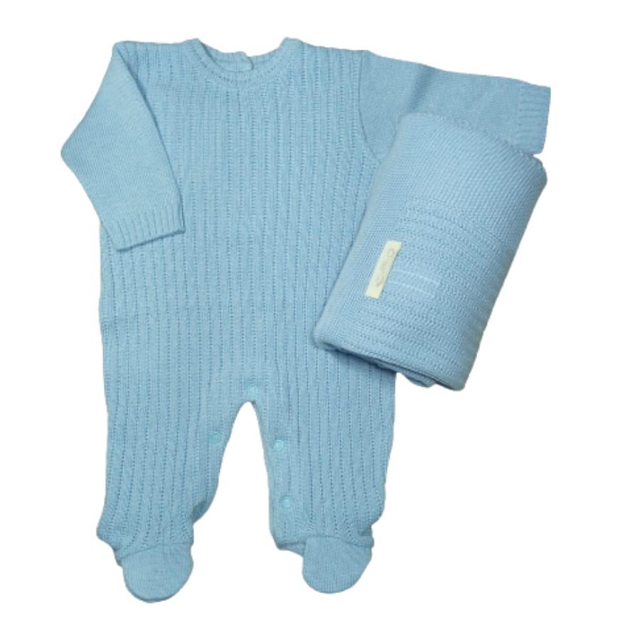 Saída Maternidade em Tricot para Bebê Azul