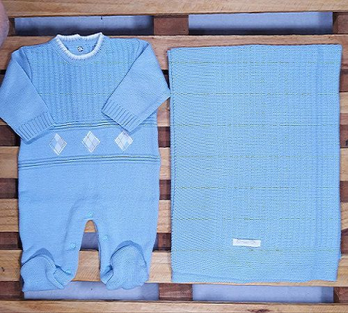Saida Maternidade em Tricot para Bebê  Azul Claro