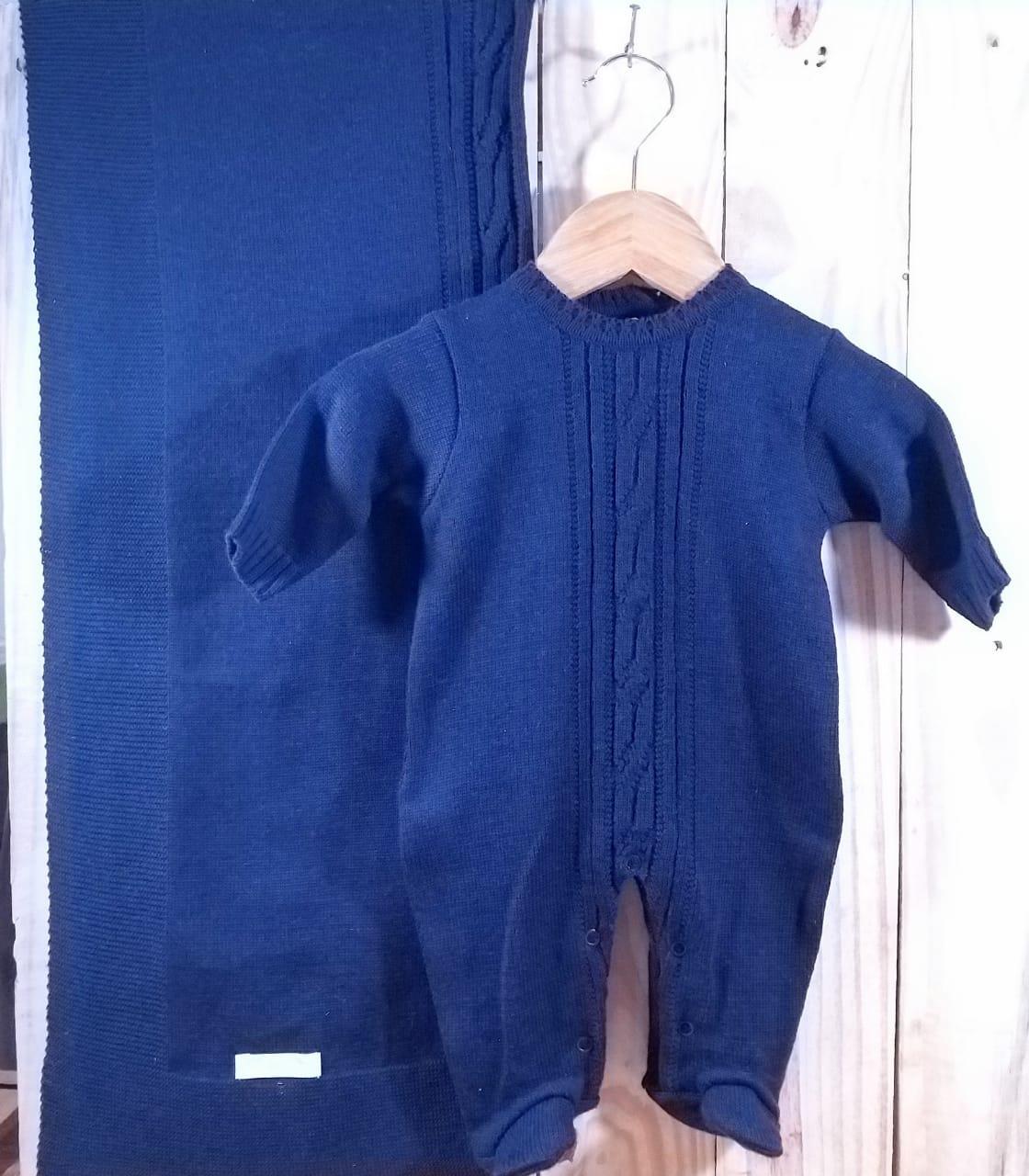 Saida Maternidade em Tricot para Bebê  Azul Marinho