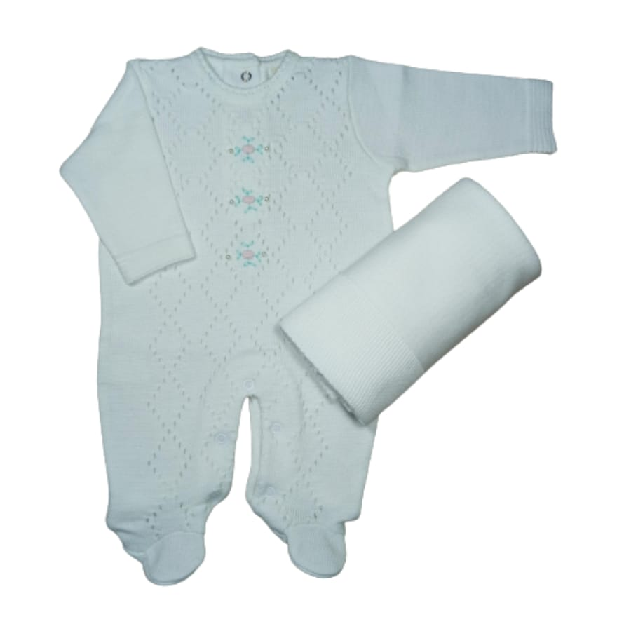 Saída Maternidade em Tricot para Bebê com Bordado é Pérolas