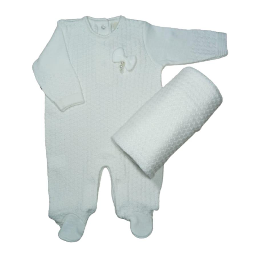 Saída Maternidade em Tricot para Bebê com Detalhes é Lacinho Bordado Branco