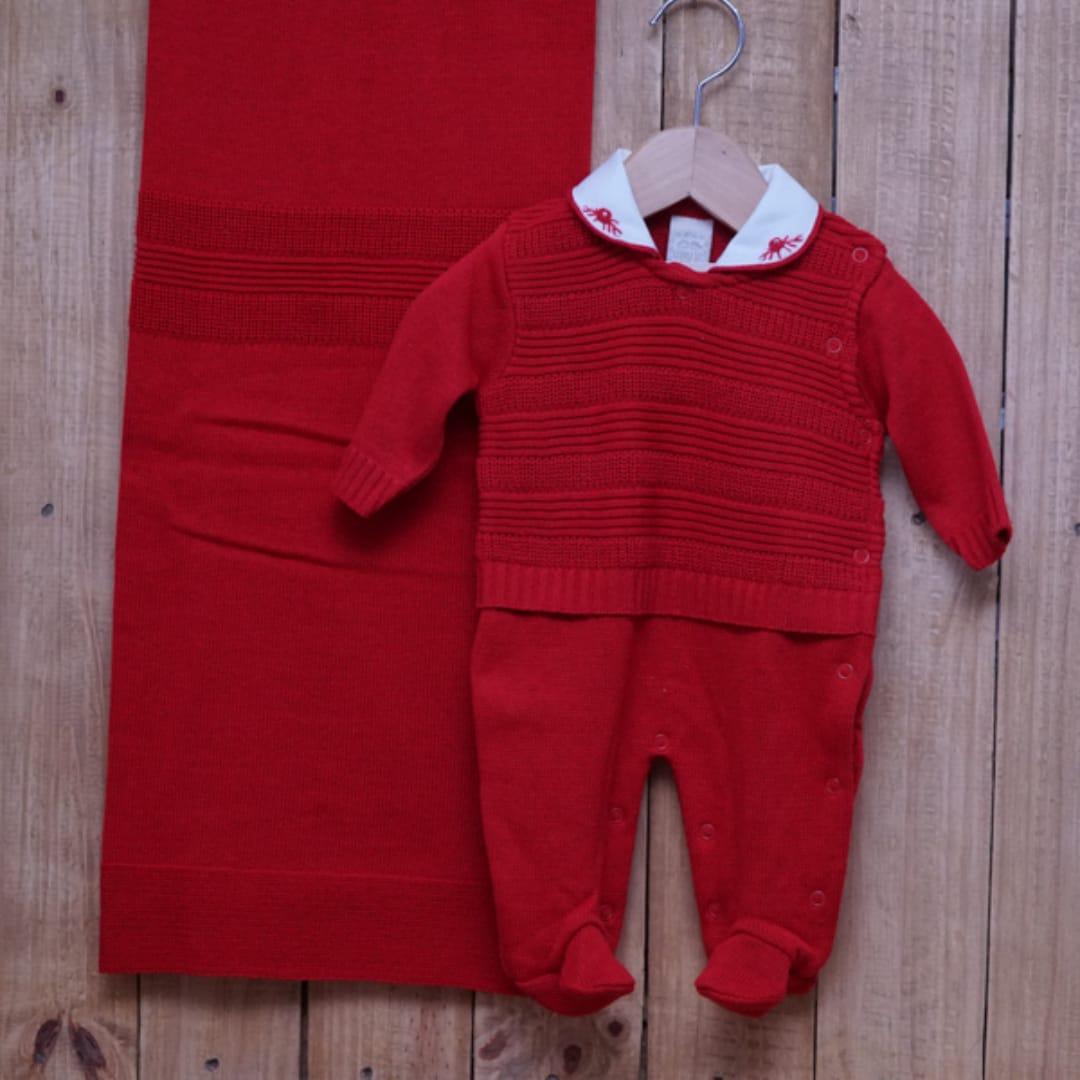 Saída Maternidade em Tricot para Bebê Gola Polo Vermelho