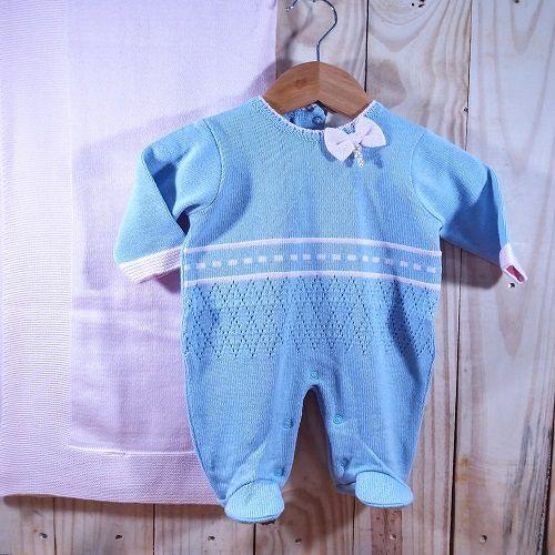 Saida Maternidade em Tricot para Bebê  Menina Azul e Rosa