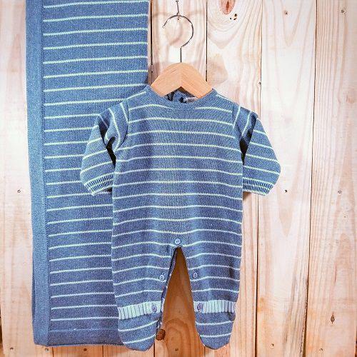 Saida Maternidade em Tricot para Bebê Menino Azul