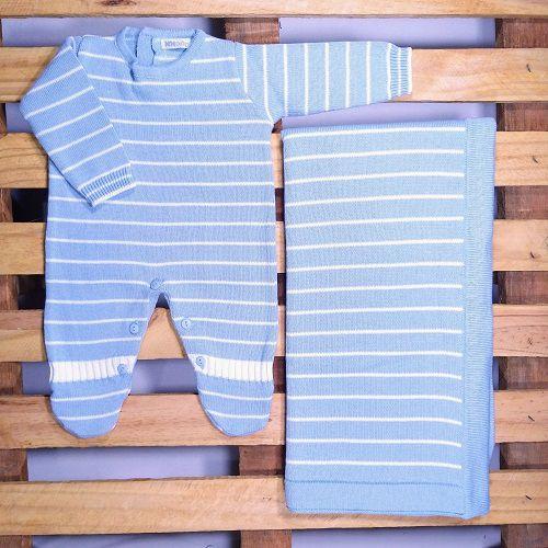 Saida Maternidade em Tricot para Bebê Menino Azul Listadinho