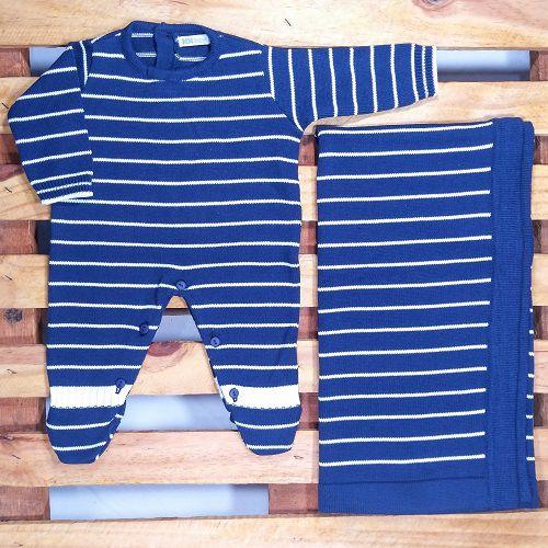 Saida Maternidade em Tricot para Bebê Menino Azul Marinho