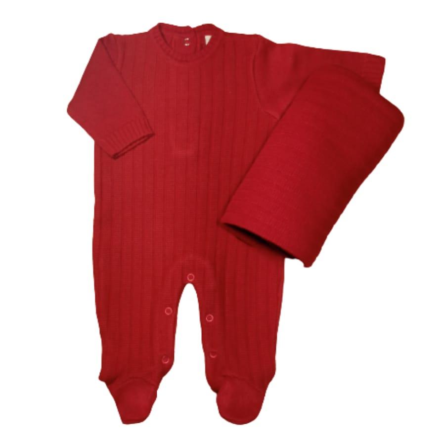 Saída Maternidade em Tricot para Bebê Vermelha