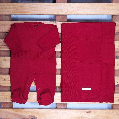 Saida Maternidade em Tricot para Bebê Vermelho