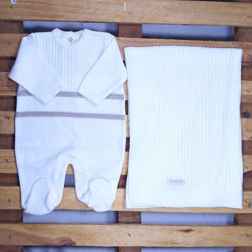 Saida Maternidade em Tricot para Bebê Branco Detalhe Bege
