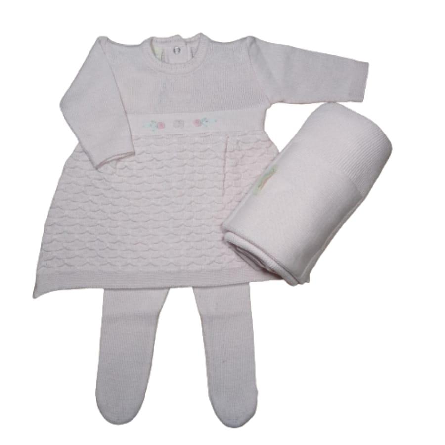 Saída Maternidade em Tricot para Bebê Vestido com Meia Calça Bordado