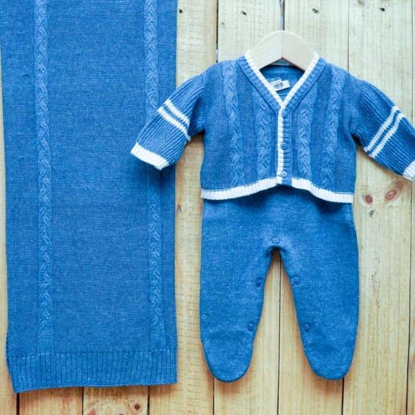 Saída Maternidade para Bebê Casaquinho Jacquard  em Tricot Blue Jeans