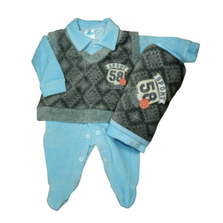 Saída Maternidade para Bebê em Plush Azul com Cinza