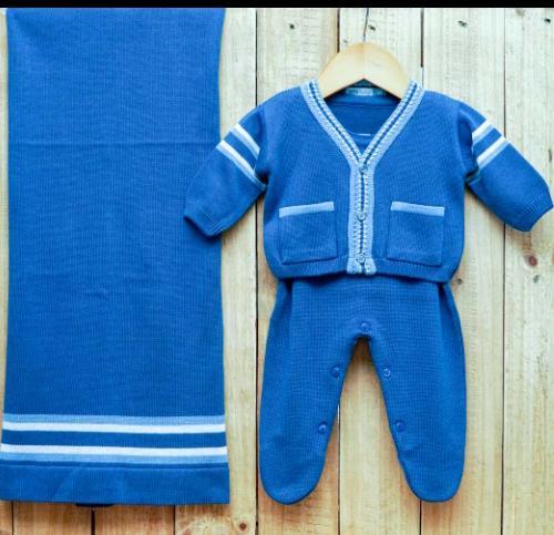Saída Maternidade para Bebê em Tricô Blue Jeans