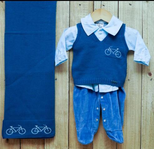 Saída Maternidade para Bebê em Tricot e Plush Blue Jeans