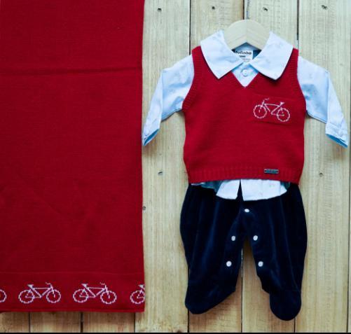Saída Maternidade para Bebê em Tricot e Plush Vermelha