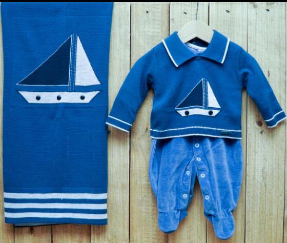 Saída Maternidade para Bebê em Tricot Plush Blue Jeans