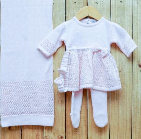 Saída Maternidade para Bebê em Tricô Vestido com  Meia  Calça Rosa