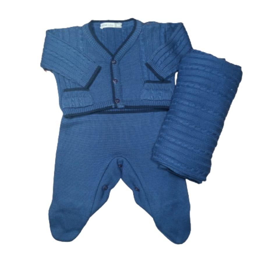 Saída Maternidade para Bebê em Tricot Azul Bic