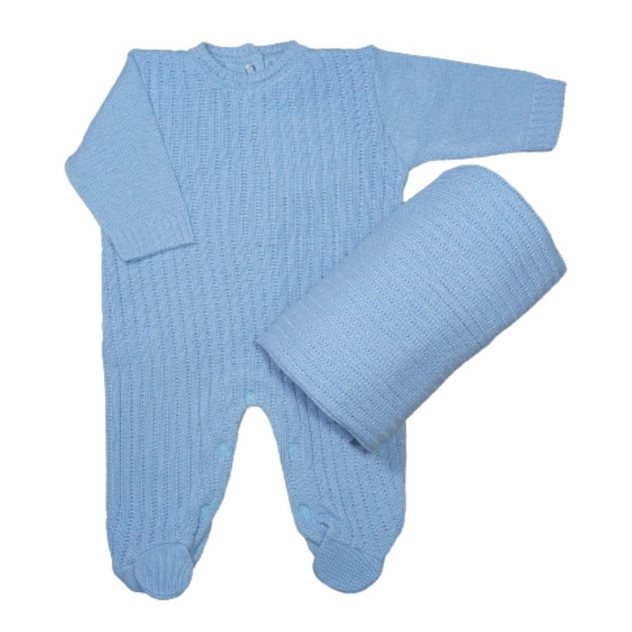 Saída Maternidade para Bebê em Tricot Azul Claro