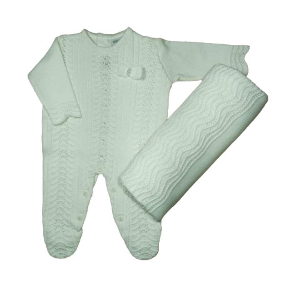Saída Maternidade para Bebê em Tricot Branca com Pérolas Rendado