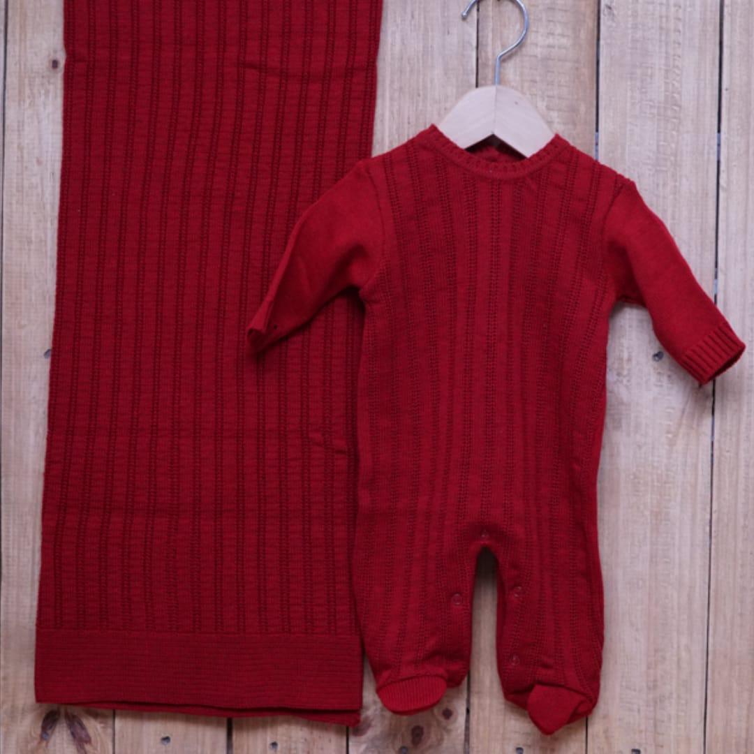 Saída Maternidade para Bebê em Tricot  com Detalhe na Frente Vermelho