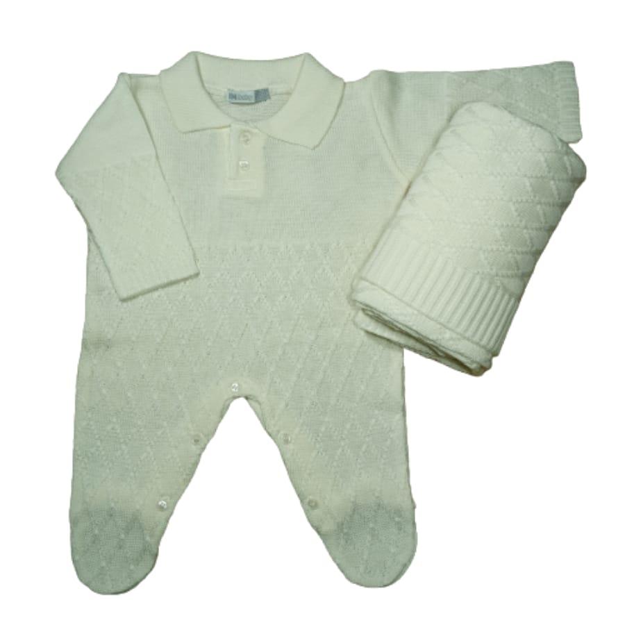 Saída Maternidade para Bebê em Tricot com Gola Polo Off White