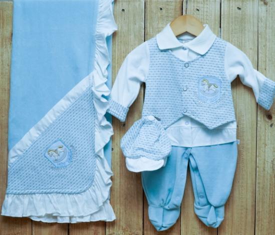 Saída Maternidade para Bebê Plush Macacão Azul claro