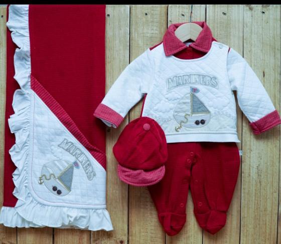 Saída Maternidade para Bebê em Tricot Macacão com Bordado Vermelho
