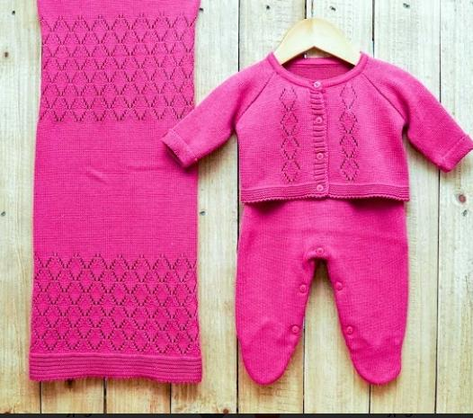 Saída Maternidade para Bebê em Tricot  Macacão Com Casaco Pink