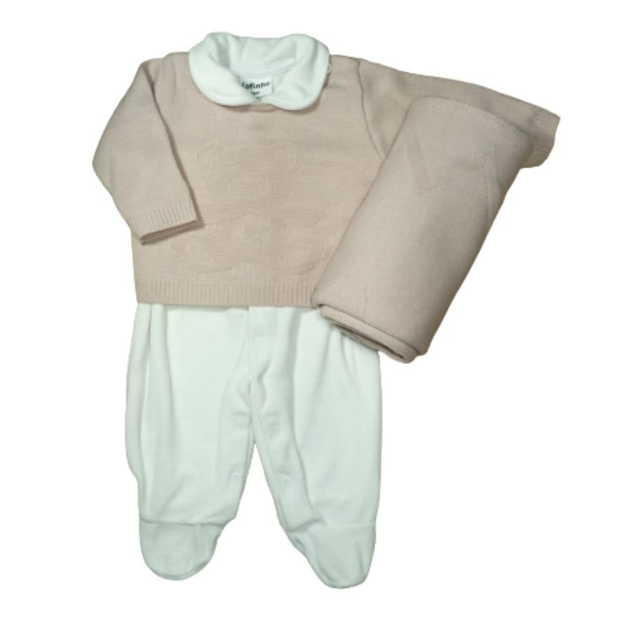 Saída Maternidade para Bebê em Tricot Macacão Plush Branco é Casaco Rosê