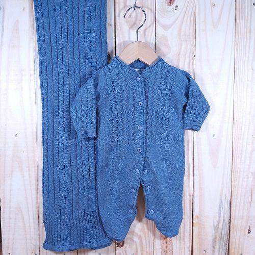 Saída Maternidade para Bebê  em Tricot  Trançado Azul Jeans Abertura Frontal