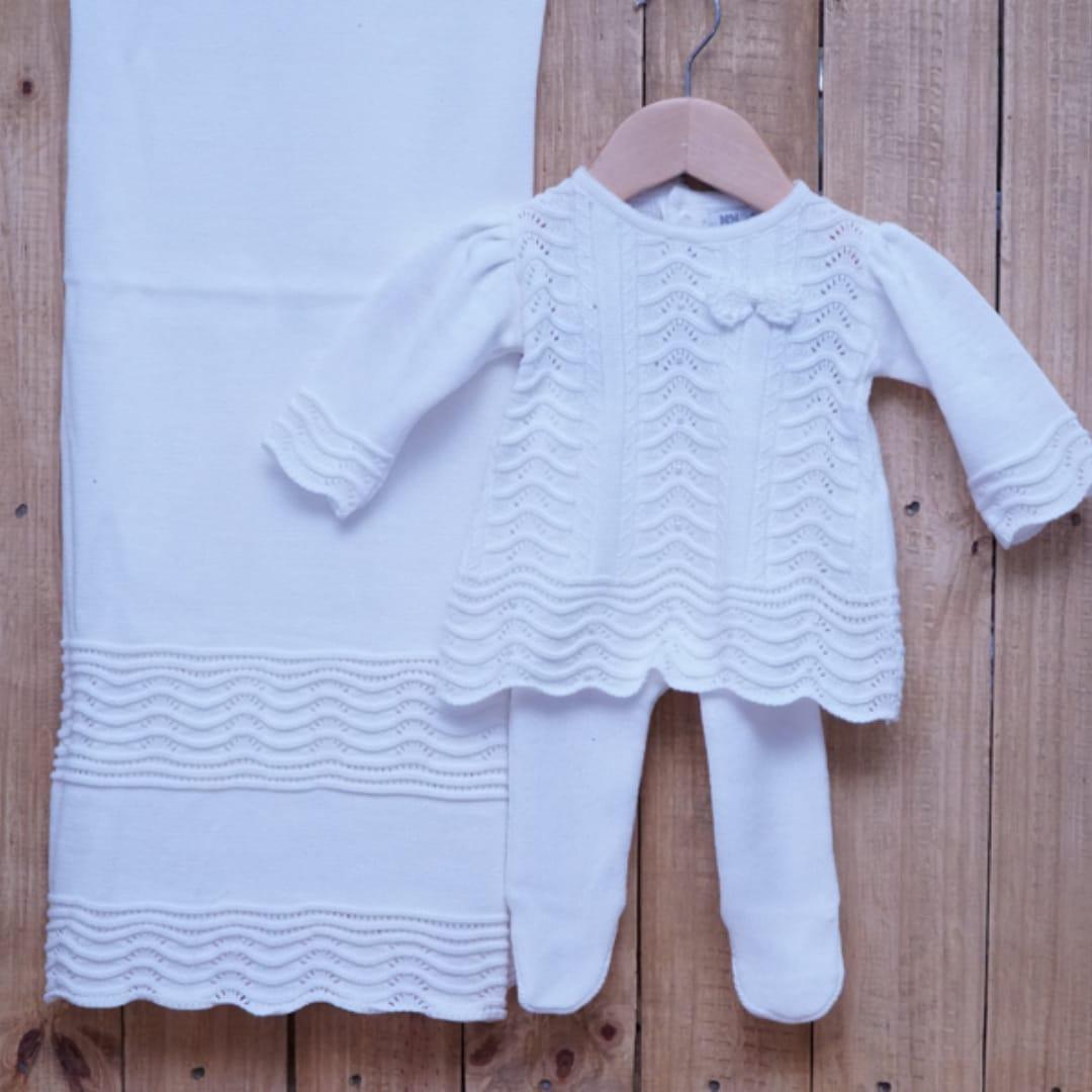 Saída Maternidade para Bebê em Tricot Vestido com Meia Calça Branco