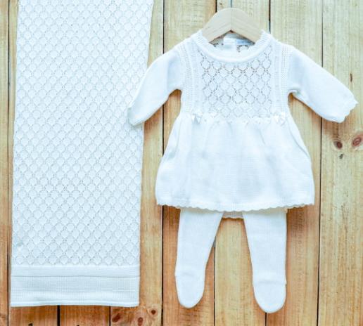 Saída Maternidade para Bebê em Tricot Vestido com Meia Calça OFF White