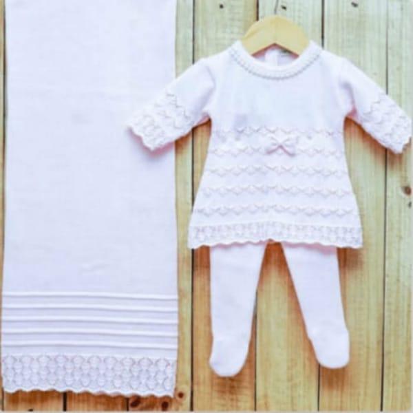Saída Maternidade para Bebê em Tricot Vestido com Meia Calça Rosa
