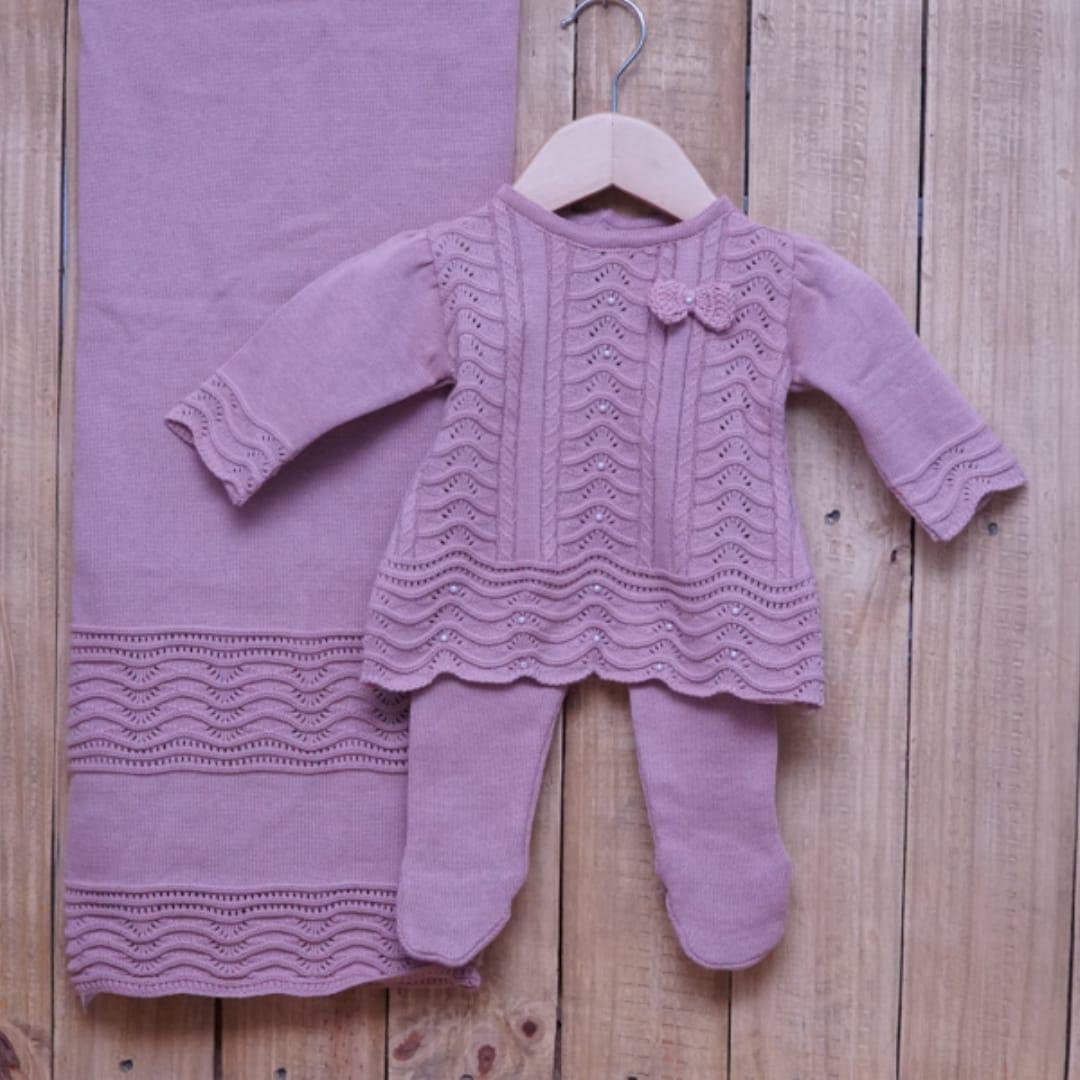 Saída Maternidade para Bebê em Tricot Vestido com Meia Calça Rosé
