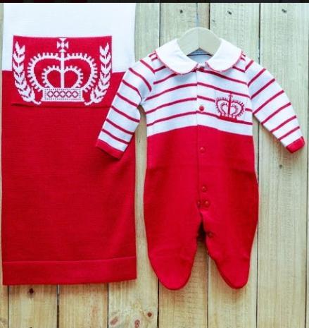 Saída Maternidade para Bebê Macacão com Lista e com Estampa de coroa Gola polo Vermelho