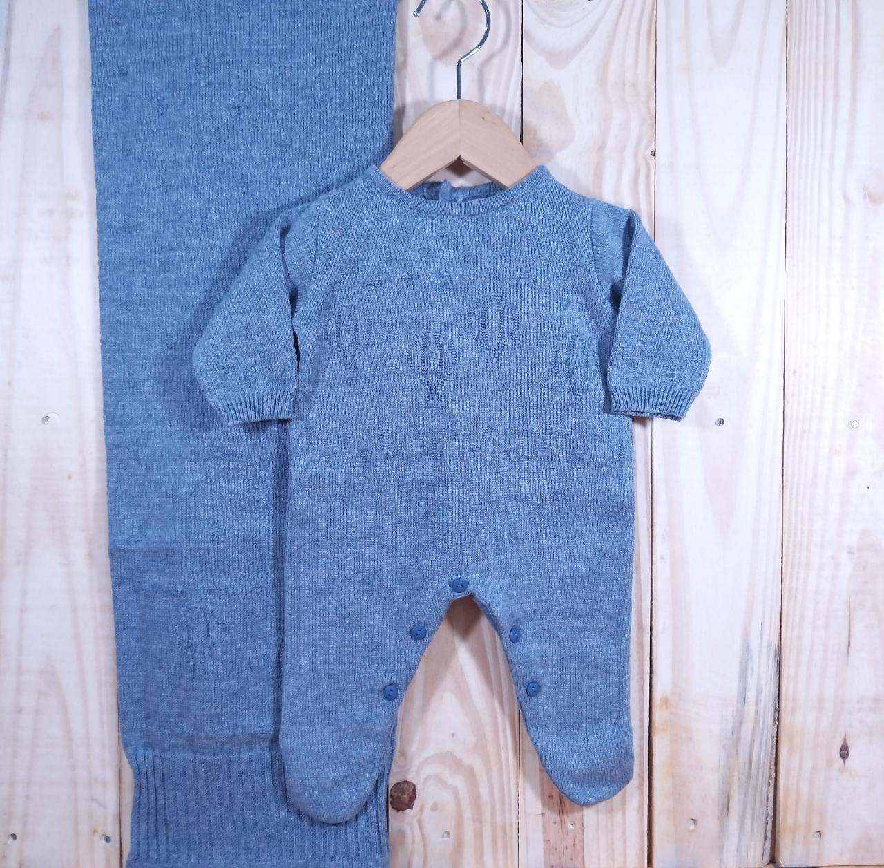 Saida Maternidade para Bebê Tricot Balão Azul Jeans