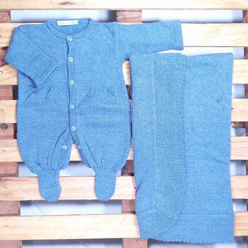 Saída Maternidade para Bebê Tricot Barbante Azul Jeans