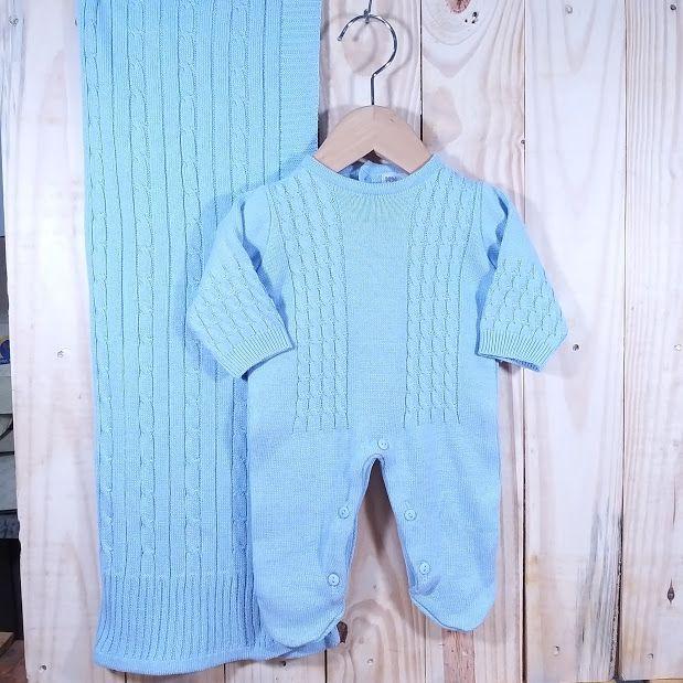 Saida Maternidade para Bebê Tricot Meia Trança Azul Bebê