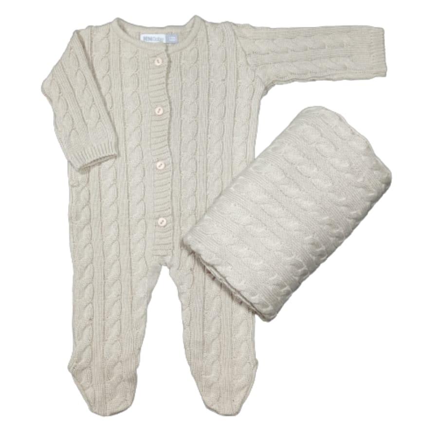 Saída Maternidade para Bebê Tricot Trança