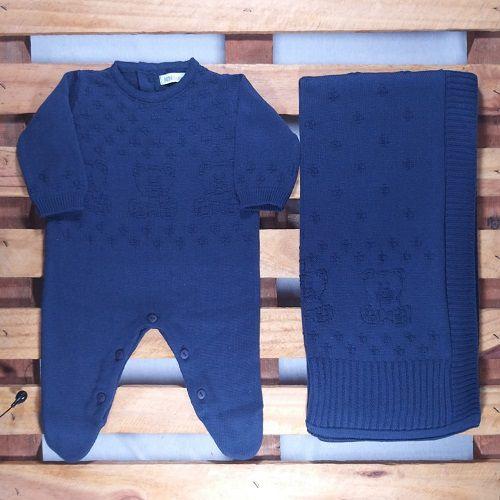 Saida Maternidade para Bebê Tricot  Azul Marinho Urso