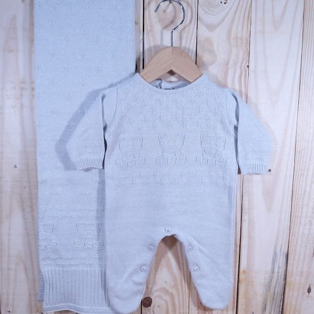 Saída Maternidade para Bebê Tricot urso Prata