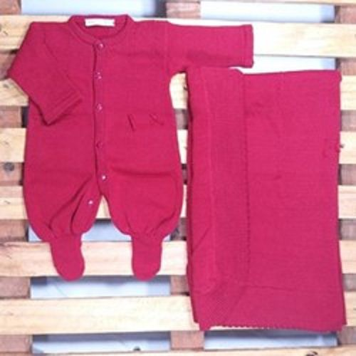 Saída Maternidade para Bebê Tricot Barbante  Vermelho