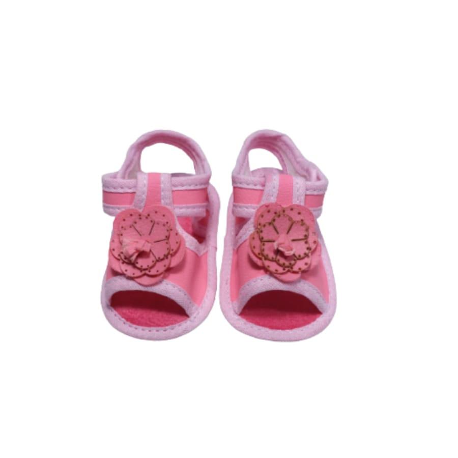 Sandália para Bebê com Flor e Velcro 15/16